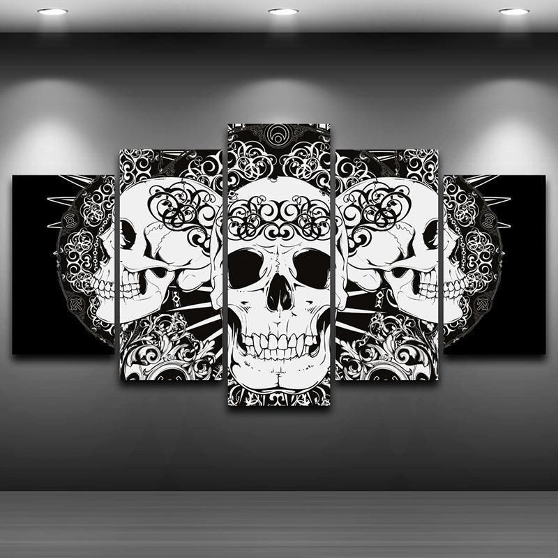 Hd Skull Print 5 Panel Canvas Painting Skull Wall Art Skull Painting Skull Artwork
