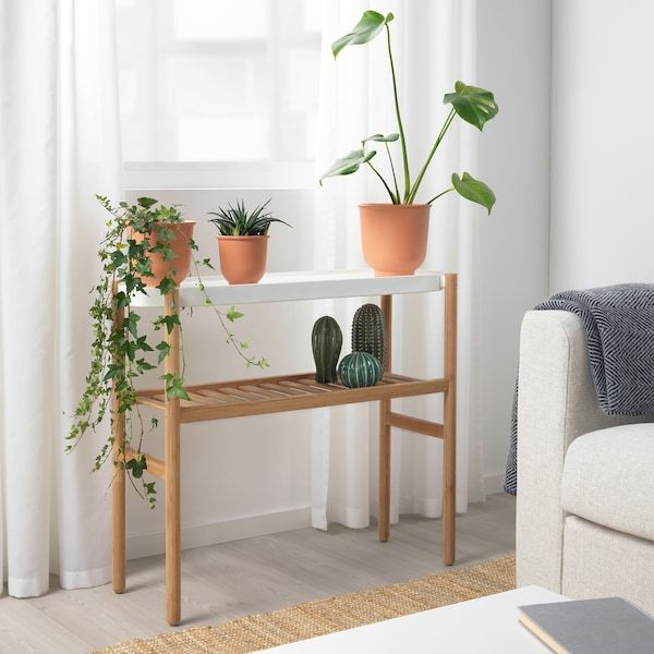 IKEA SATSUMAS Bamboo, White Plant stand -   13 pidestall plants Stand ideas