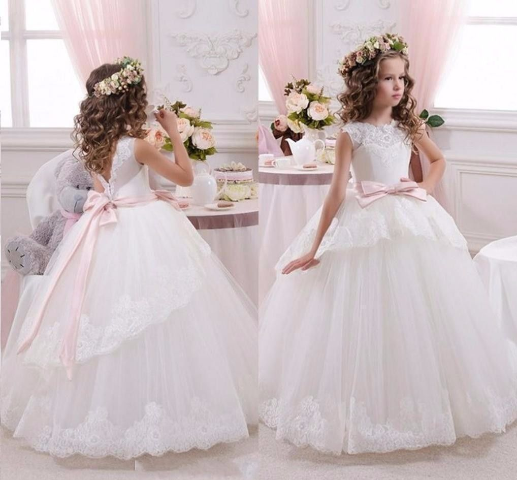Lager Blumenmadchen Kinder Kleid Prinzessin Kommunion Madchen Armellos Ballkleid Blumenmadchen Kleid Kleider Hochzeit Blumen Madchen Kleider