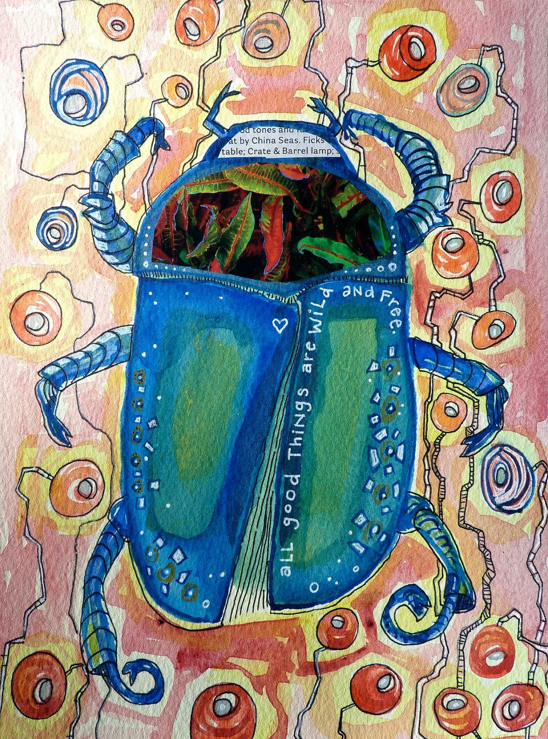 Beetle 7 1/2 x 10 original water color painting, mixed media ...