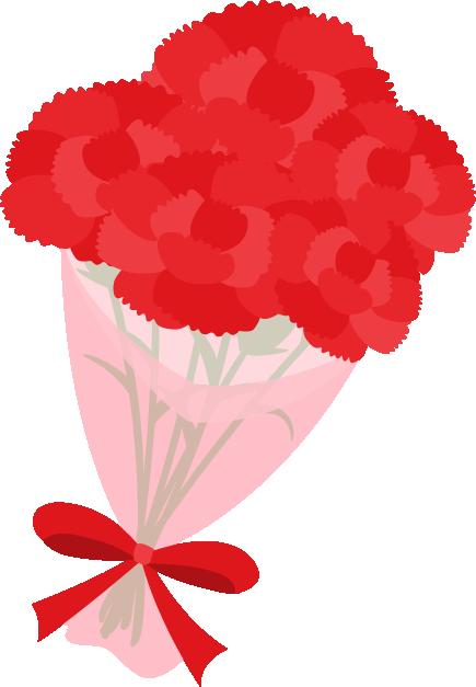 赤いカーネーションの花束イラスト