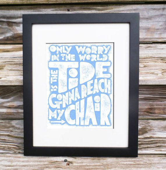 Beach Decor Knee Deep Song Lyrics Zac Brown Letterpress Etsy Nautical Wall Art Beach Decor Wall Art Prints