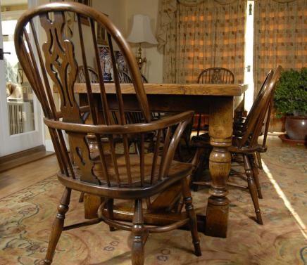 English Oak Refectory Table U0026 8 Windsor Chair Dining Set