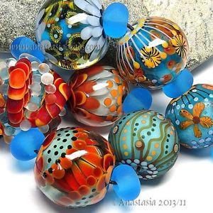 "ANASTASIA--lampwork+beads--(7)--""TROPICAL+SUN""--SRA"