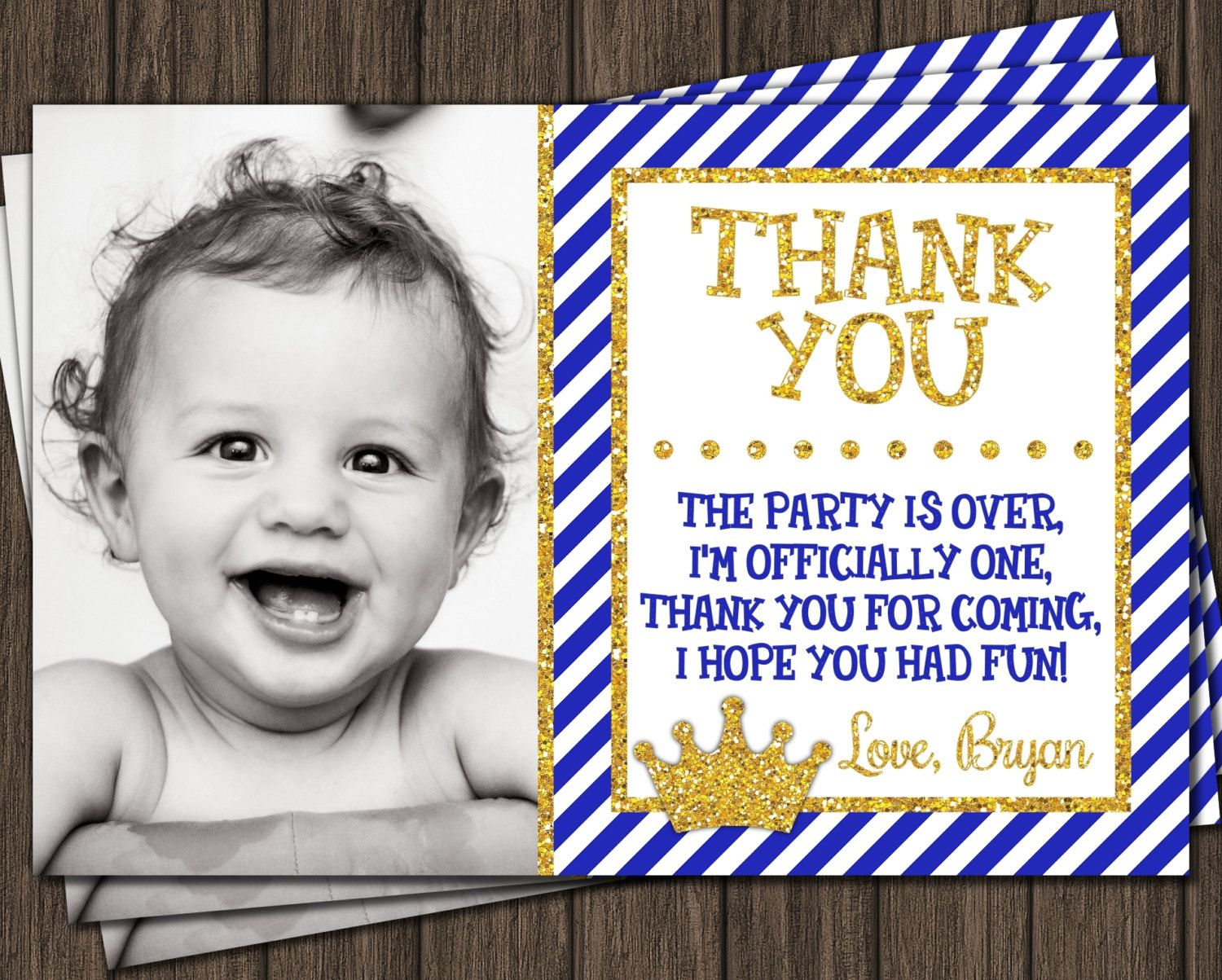 Prince Thank You Card Royal Blue First Birthday Thank You Card Birthday Thank You Birthday Thank You Cards Thank You Cards