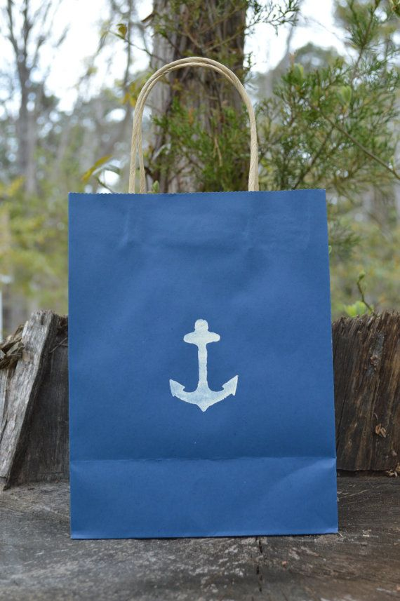 Navy Kraft Paper Bags Anchor Image By Lifeofacaptainswife On Etsy