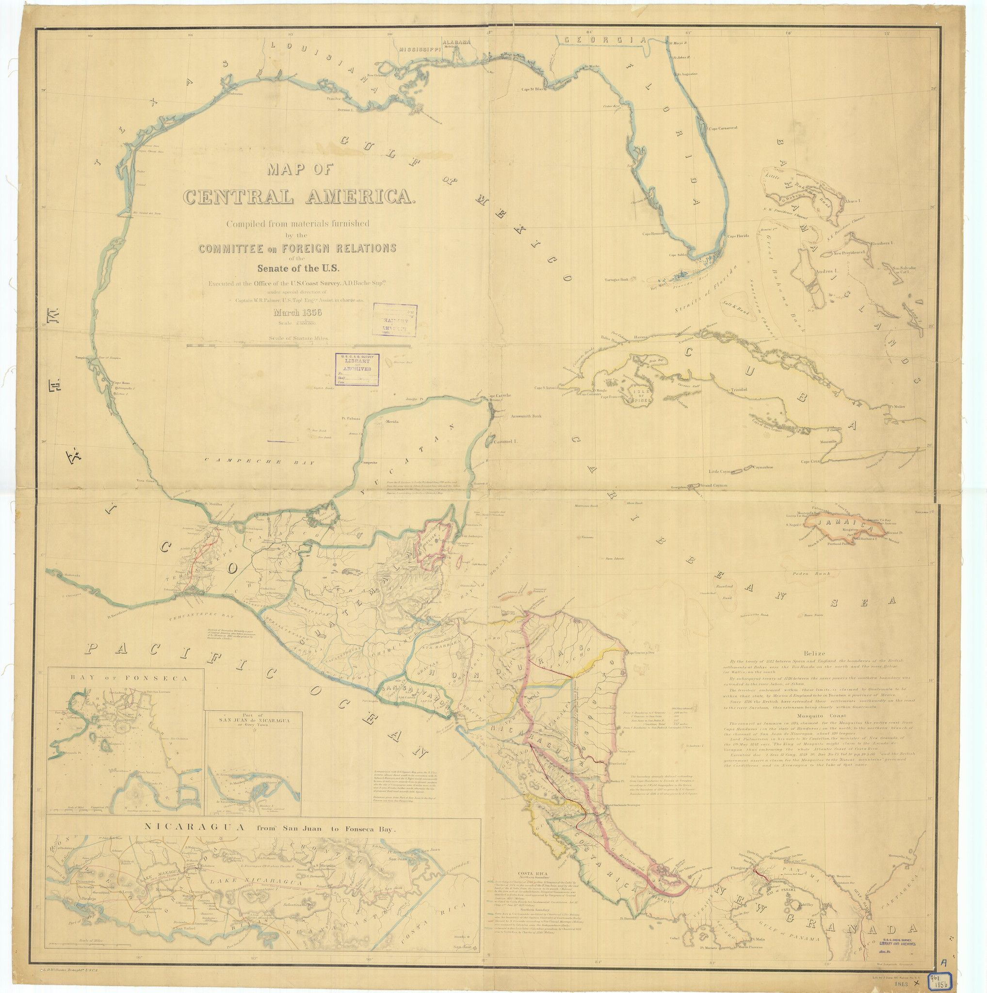 Caribbean Map and Central America 1856   travel   Map ...