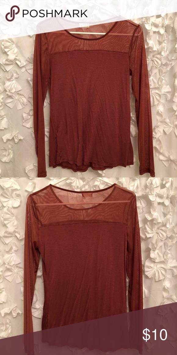 e2a0d36078a Burnt orange mesh long sleeve shirt Beautiful burnt orange color long  sleeve shirt