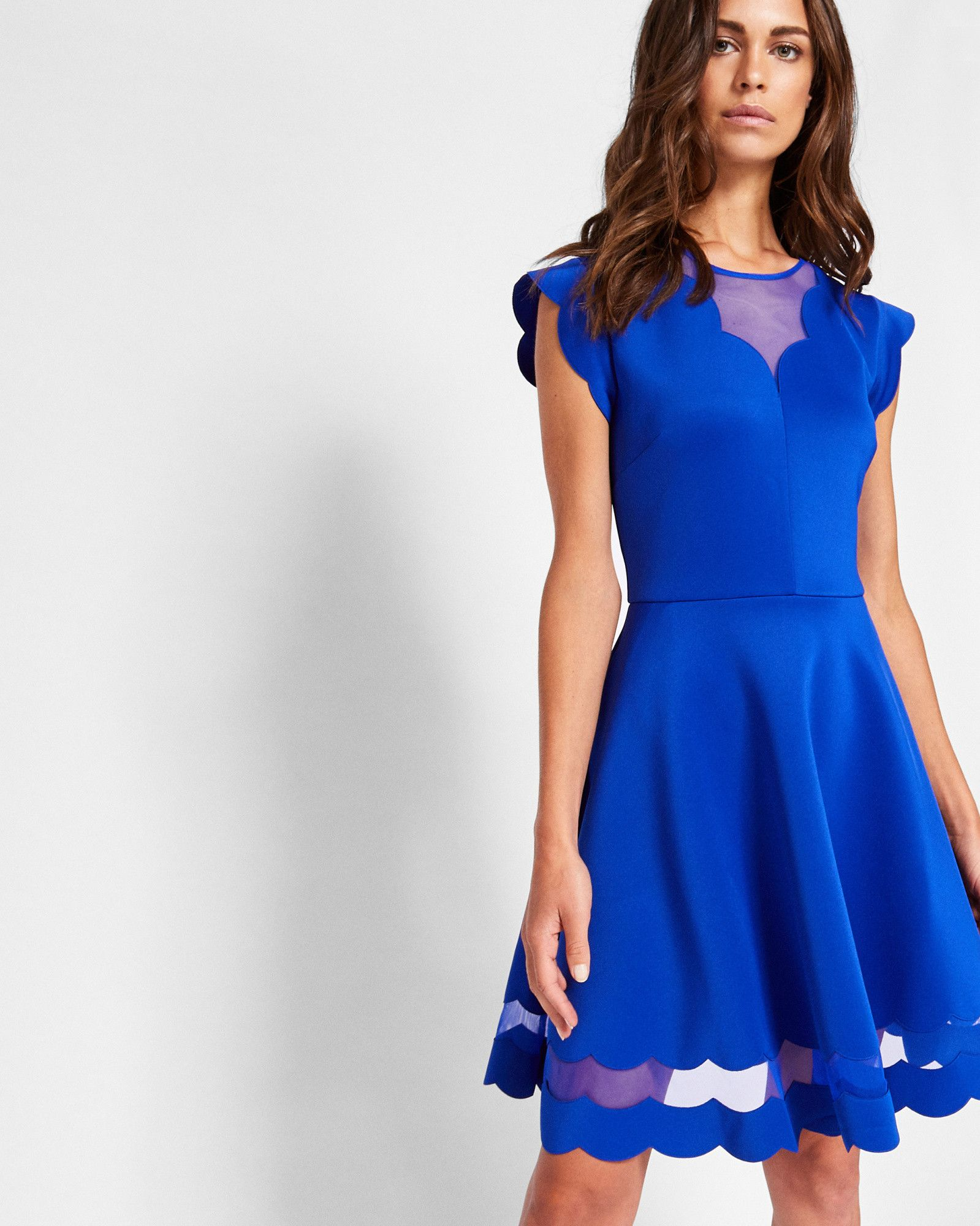 021a63b01 Ted Baker Scallop detail skater dress Bright Blue