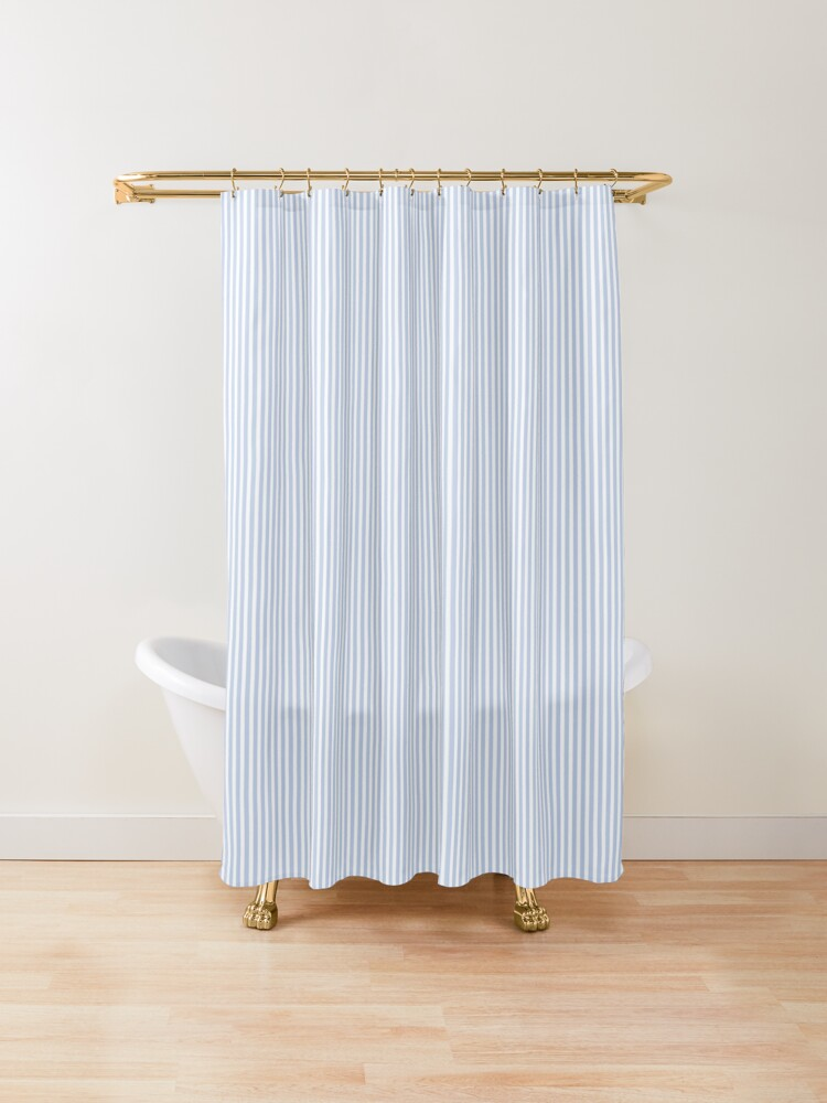 Alice Blue Pinstripe In An English Country Garden Shower Curtain