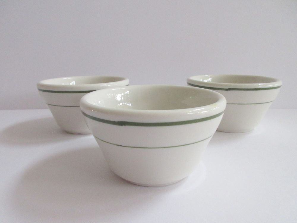 Details about 3 Buffalo China Custard Bowls Green Striped Restaurant ...