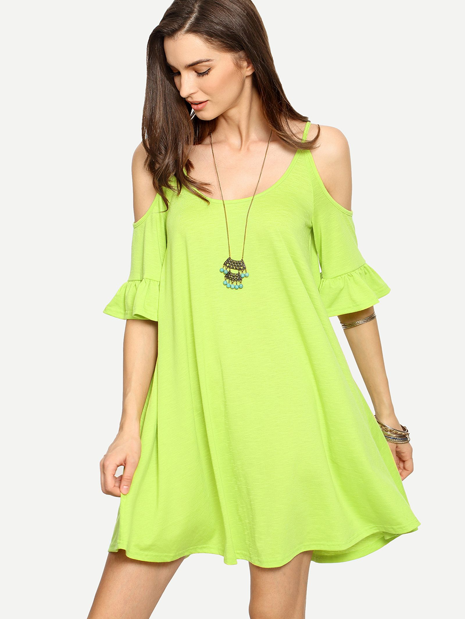 219b5075e3 Fruit Green Cold Shoulder Ruffle Cuff Shift Dress -SheIn(Sheinside ...