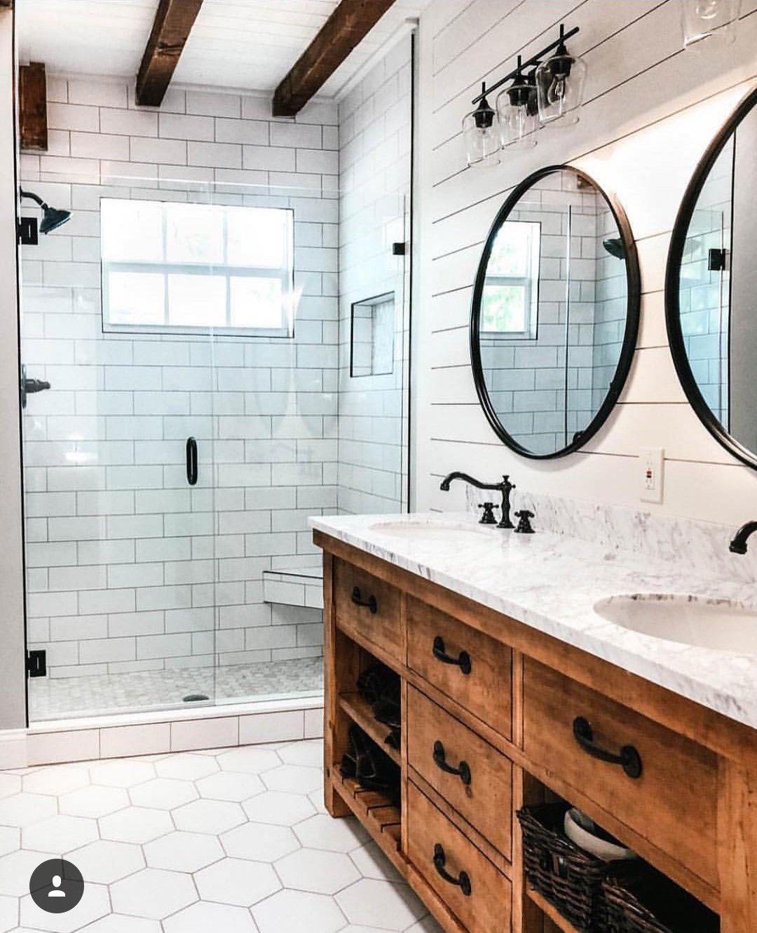 Modern Farmhouse Bathroom. White tile and shiplap with wood