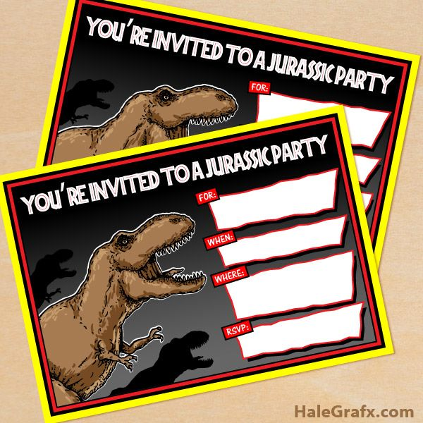 FREE Printable Jurassic Park T Rex Birthday Invitation