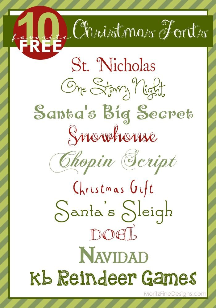 Best Free Christmas Fonts | use on Holiday invitations, crafts and Christmas Printables! |