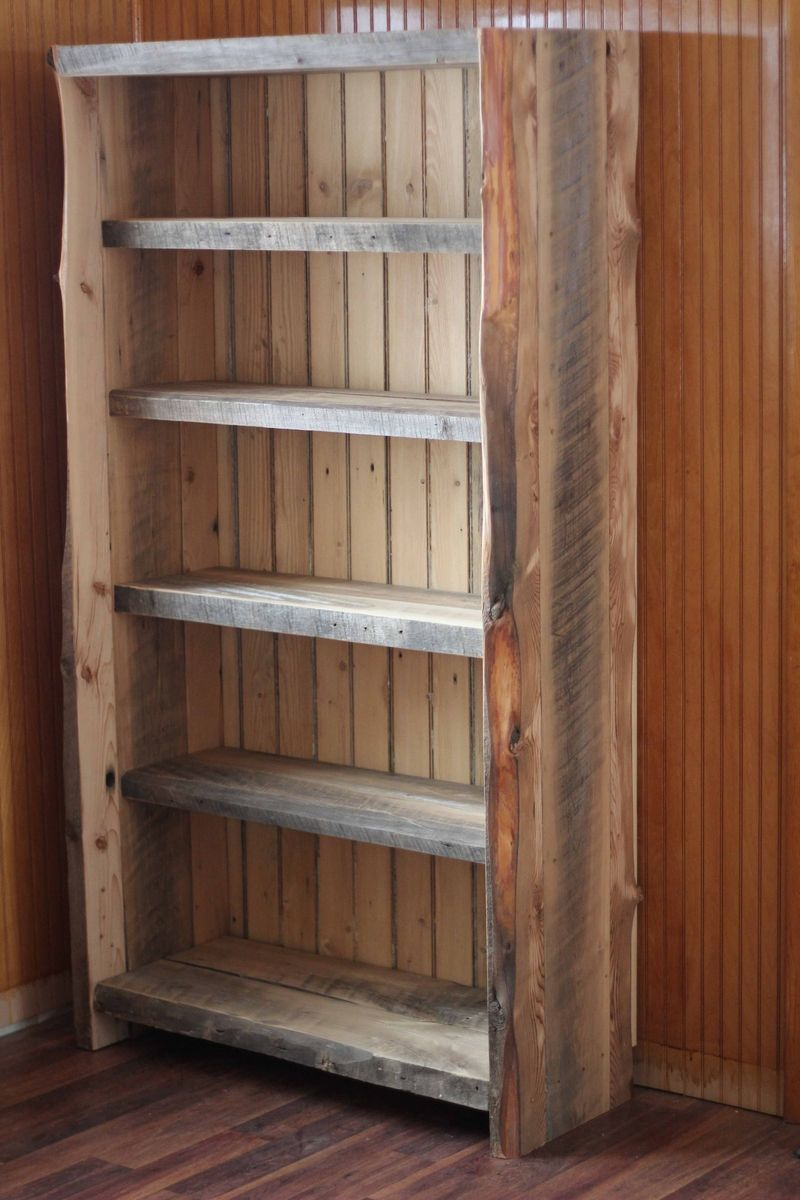 Custom made reclaimed wood bookcase barnwood 2 door for Barnwood shelves for sale