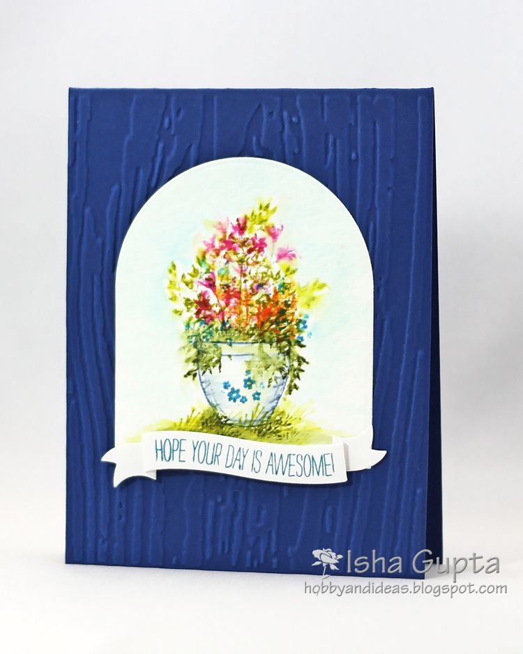 Wonderful watercolor art impressions stamps. Handmade water color floral card.