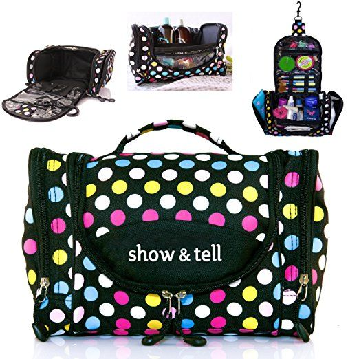 Cosmetic Bag Makeup Organizer Lightweight Hanging Toiletry Travel With Multiple Compartments In Polka