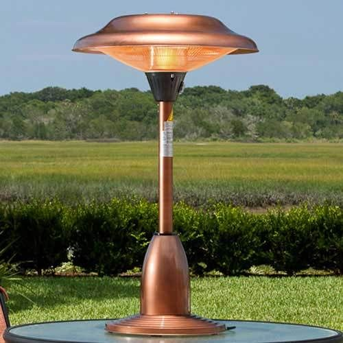 Charming Fire Sense Table Top Copper Finished Steel Halogen Patio Heater