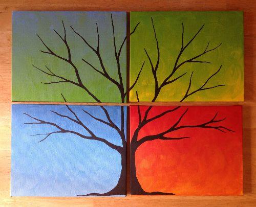 Four Seasons Button Tree Painting