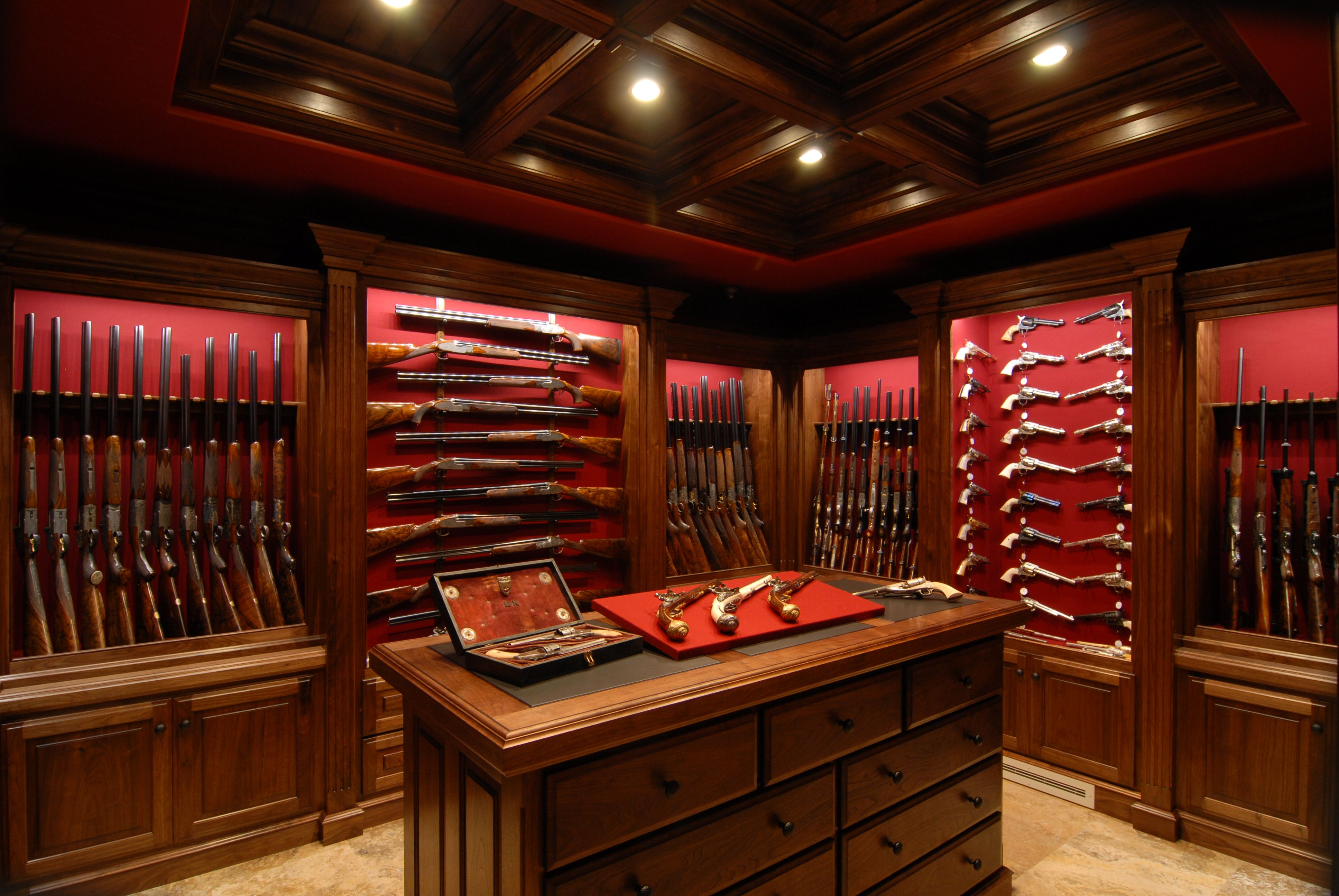 Gun room amp trophy room done hunting - Amusing Gun Cabinet Ideas For Wonderful Look Of House Interior Marevlous Traditional Home Office Design Interior Completed With Gun Cabinet