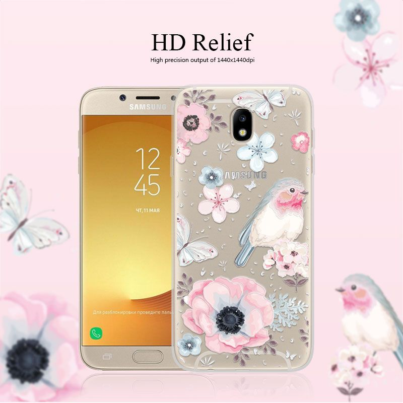 Cover Case For Samsung Galaxy J7 2017 J7 Pro 55 3d Relief Flower