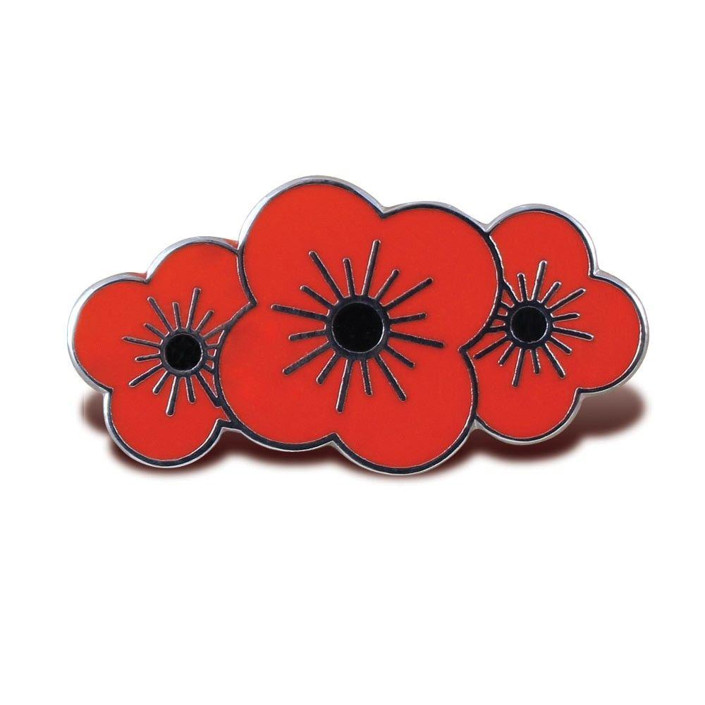 poppyscotland poppy trio pin badge poppies and scottish