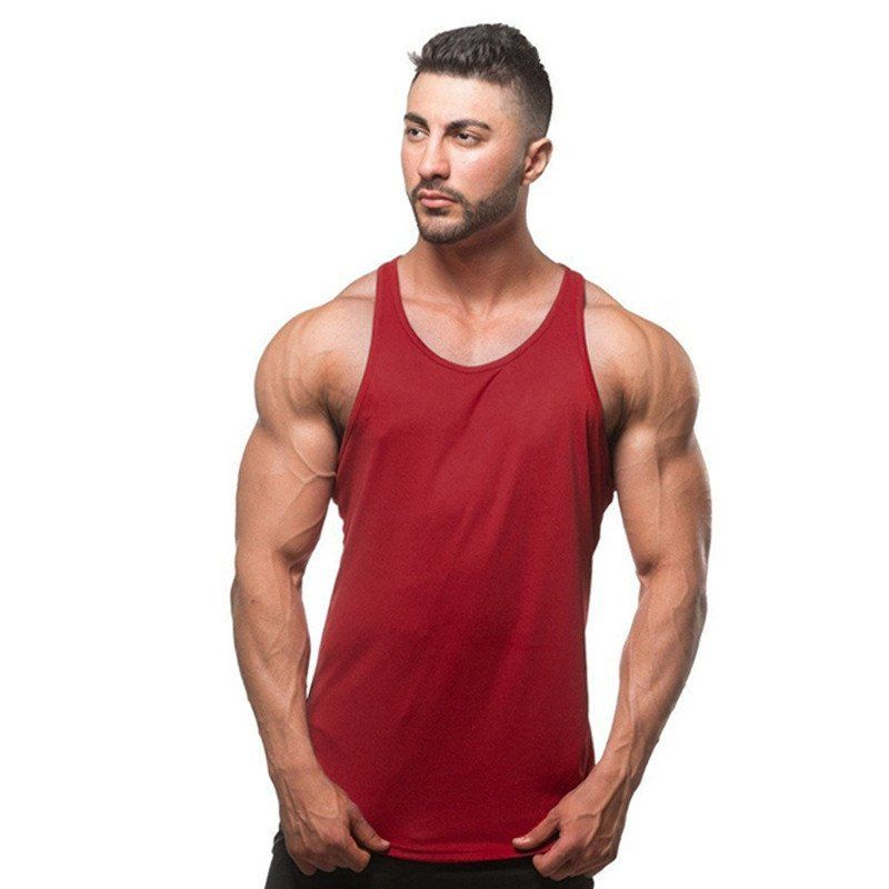 7454889797228c Spring Summer T Shirts Solid Color Sports Vest Men Cotton Soft Muscles Gym Fitness  Tank Top Running Sportshirt MC096