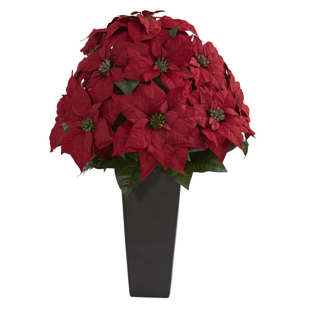 Nearly Natural Indoor 27 In Poinsettia Artificial Plant In Black Planter Poinsettia Plant Artificial Plants Small Artificial Plants