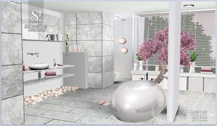 Blossom Bathroom Set By Simcredible Designs 3 Sims 3 Downloads Cc Caboodle Sims Sims 3 Sims 4 Cc Furniture