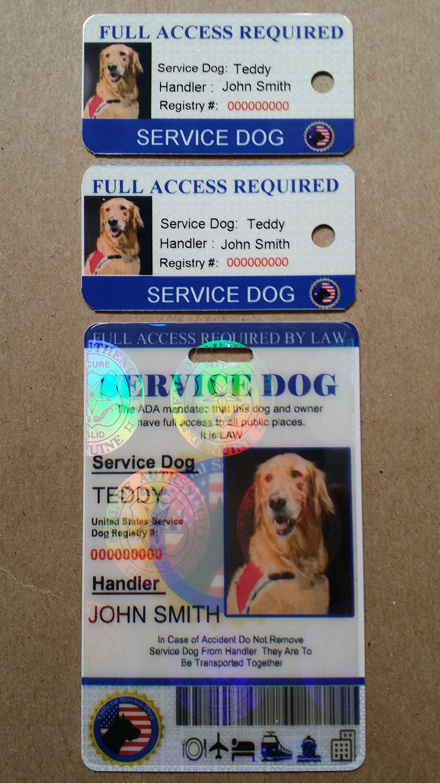 Just 4 Paws Custom Holographic Qr Code Therapy Dog Id Card With Registration To Service Dogs Registry With Strap Portrait St Service Dogs Dog Id Therapy Dogs