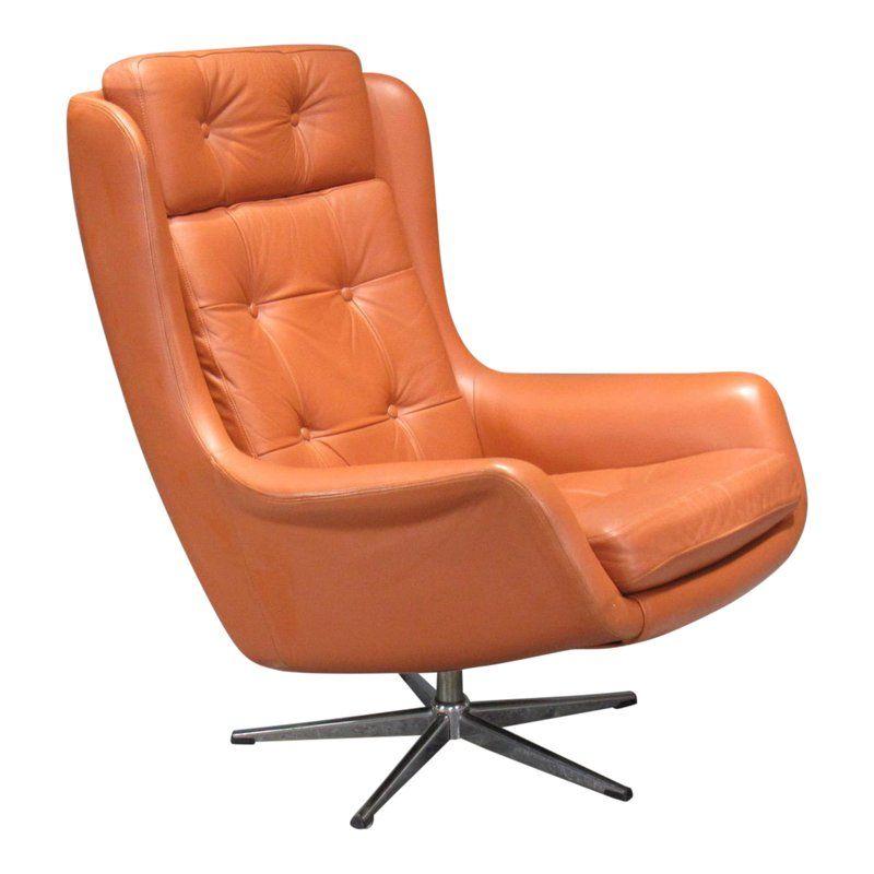 Astounding 1970S Danish Modern Orange Leather High Back Swivel Armchair Machost Co Dining Chair Design Ideas Machostcouk
