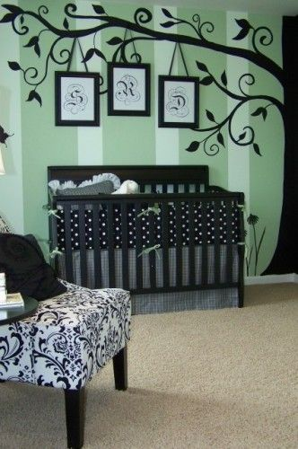 NON-TRADITIONAL COLORS IN BABY NURSERY -- Sweet yet dramatic nursery painted in Nashville for designer Dawn Kines. We really loved the way the whole room turned out. It is really a happy room! With just a few changes this nursery would be just as cute for a little boy.  By Anita Roll Murals.
