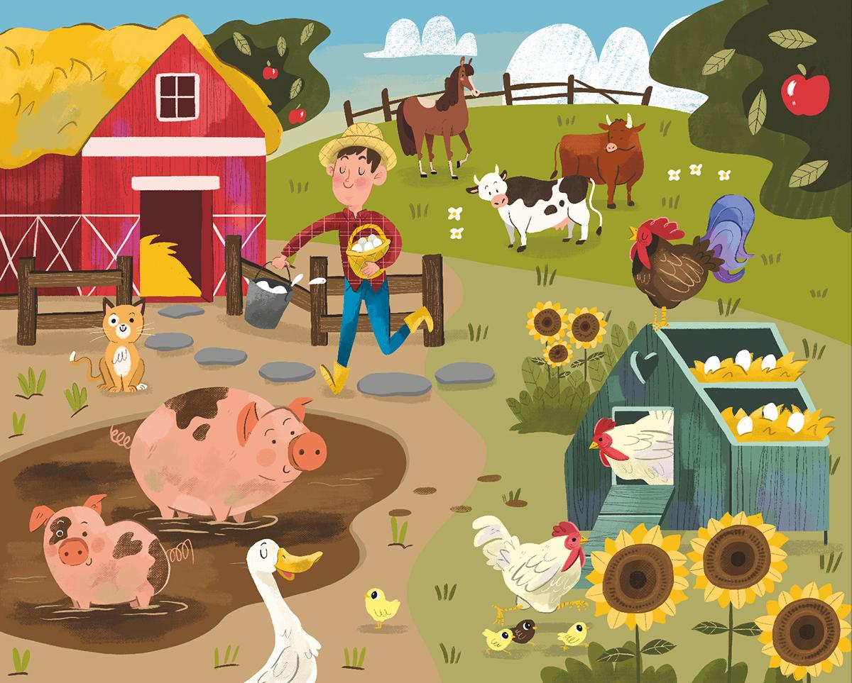 Farm Life on Behance Illustration art kids, Farm paintings