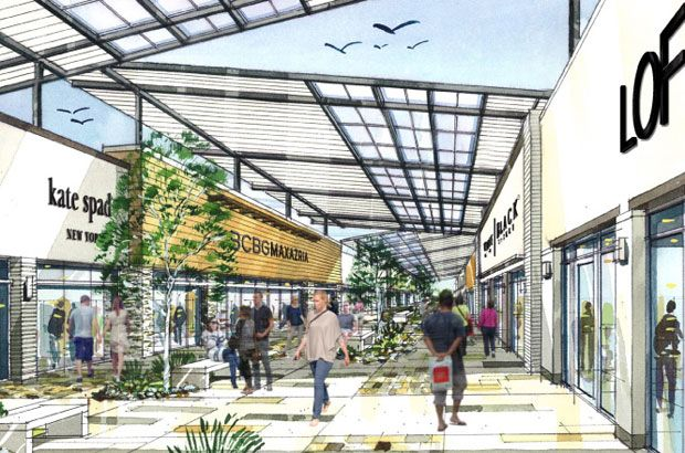 An architectural rendering of the proposed tanger outlet - Boston interiors clearance center ...
