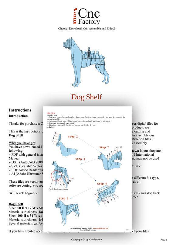 DOG SHELVING - Cnc plans template cutting file dog shelf - Puzzle 3d ...