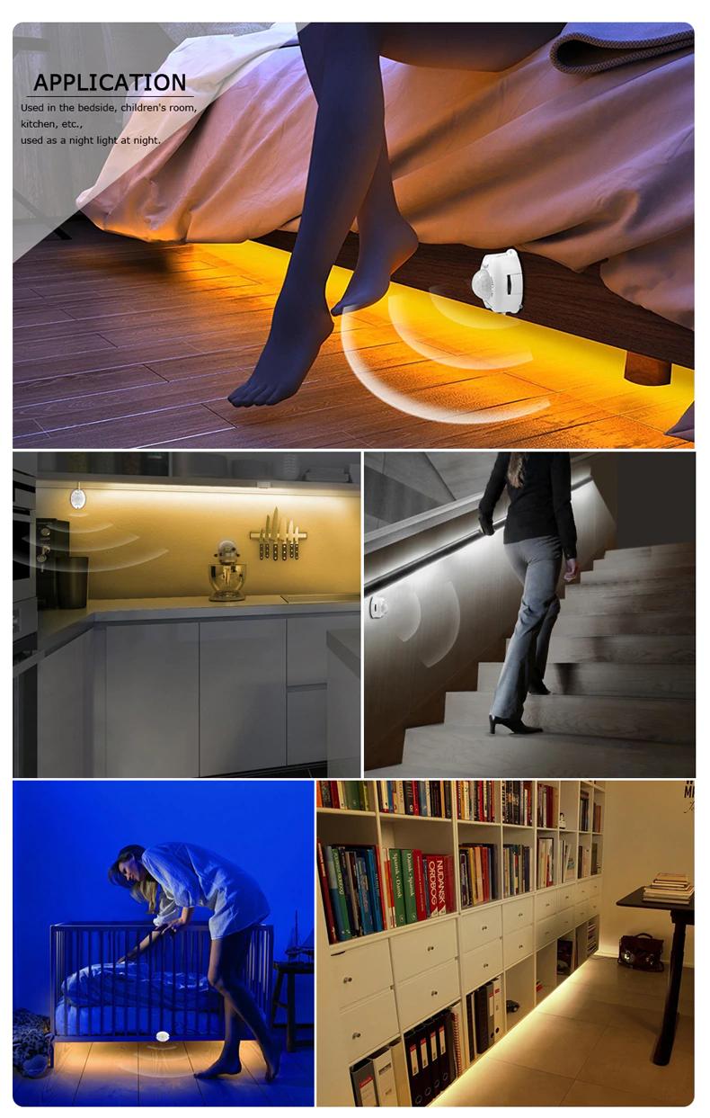 12v Armoire Lumiere Nuit Capteur 1m 2m 3m 4m 5m Detecteur De Mouvement Led Bande Chambre Placard Escaliers Armoire Led Bande De Lumiere Detecteur De Mouvement