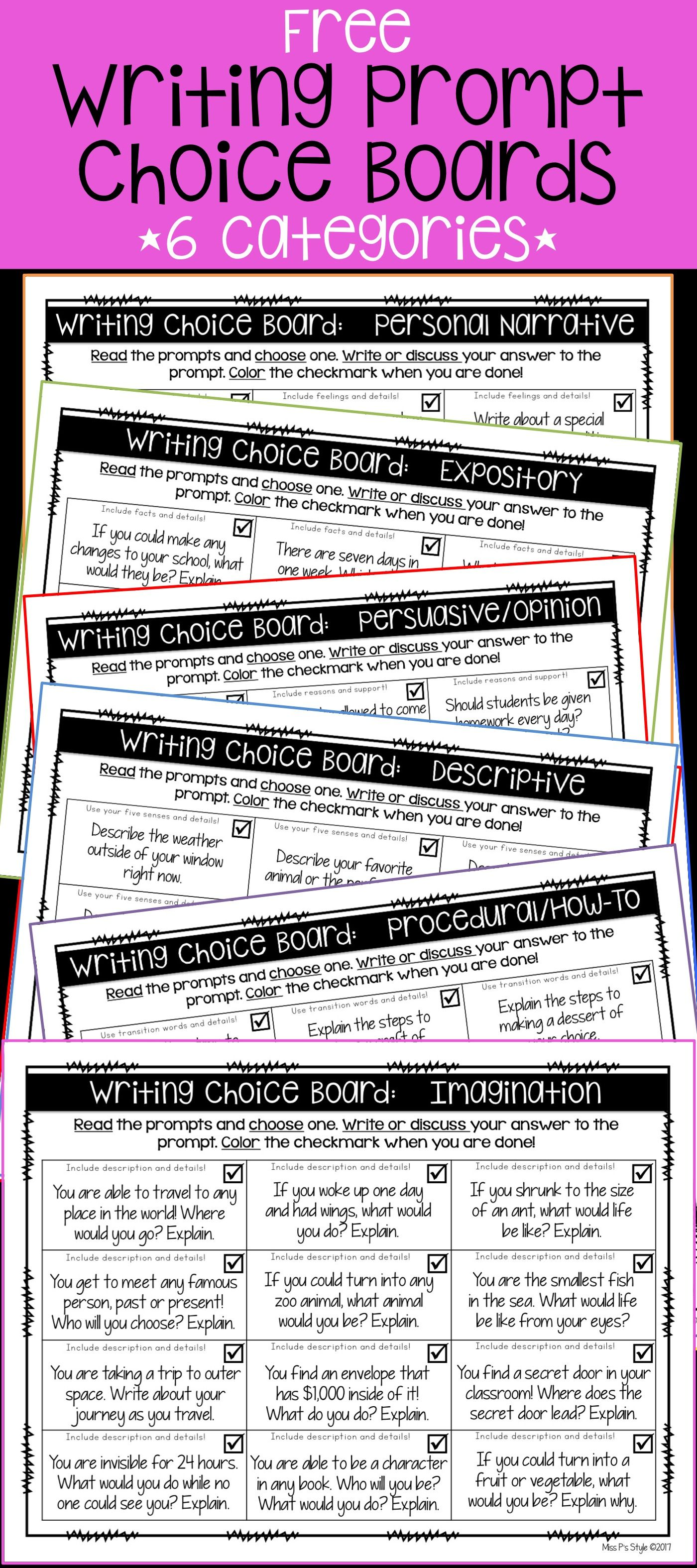 6 Free Writing Prompt Choice Boards Free Writing Prompts Writing Lessons Narrative Writing [ 3150 x 1400 Pixel ]