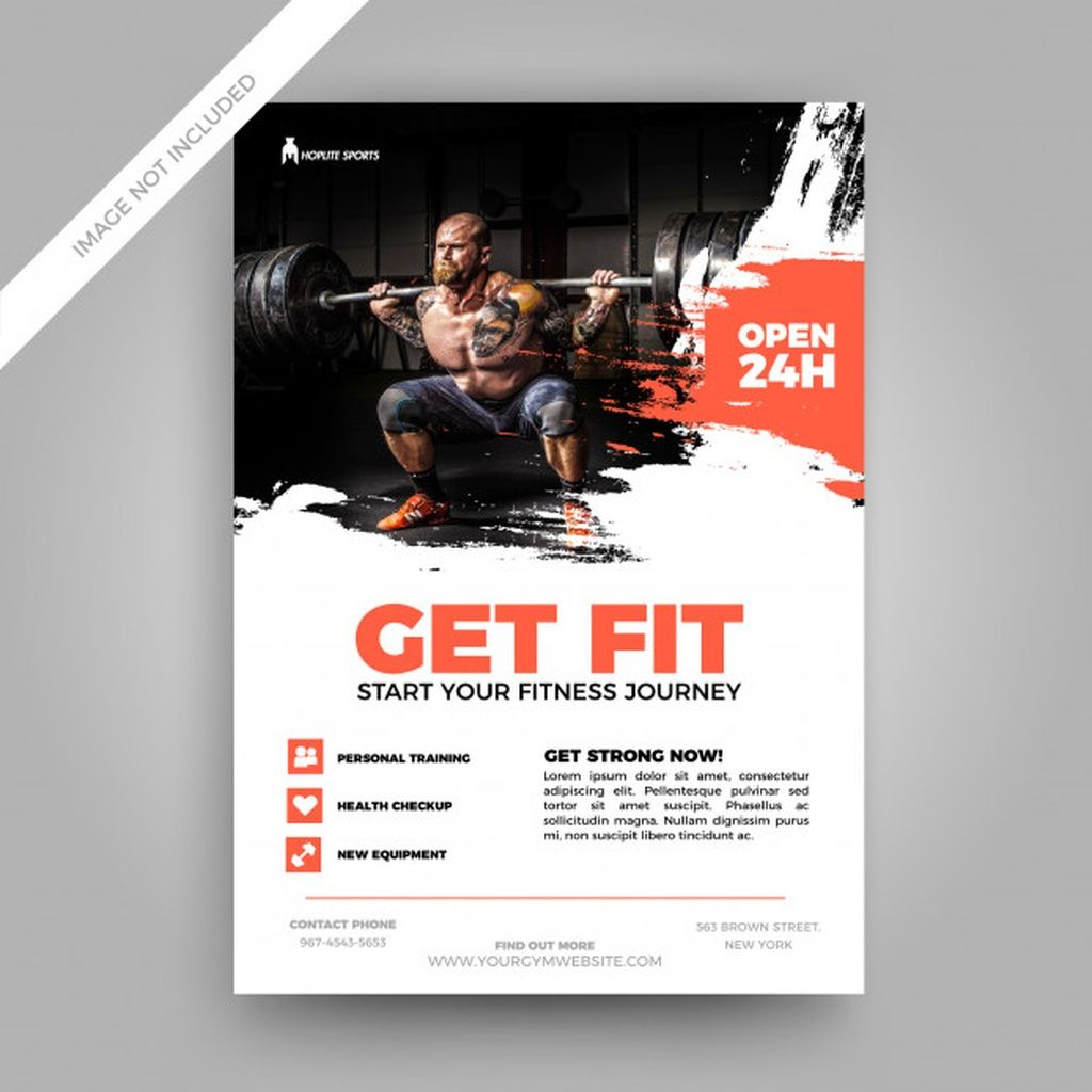 Grunge fitness flyer template #paid, , #Ad, #AD, #fitness, #flyer, #template, #Grunge