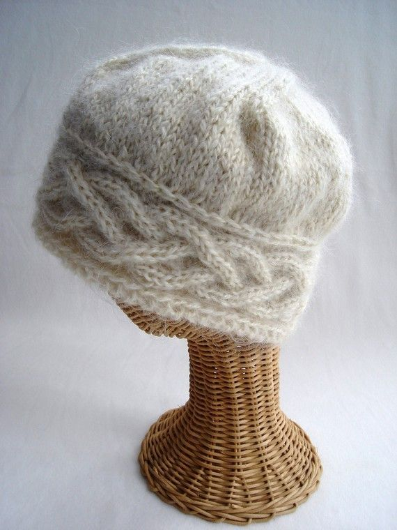 Knit Hat Celtic Cable White Wool Cloche #bonnets