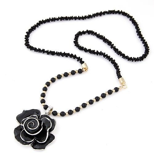Oil-spot Glazed Black Rose Pendant Mixed Beads Chain Costume Necklace