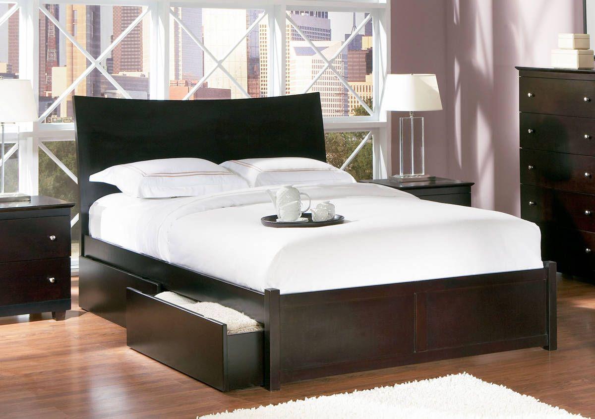 Milano Modern Espresso Wood King Storage Bed W Flat Panel
