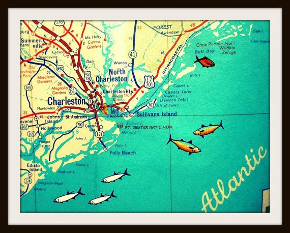 Folly Beach South Carolina Map.Retro Charleston Map Charleston Gift Charleston Art Travel Gift