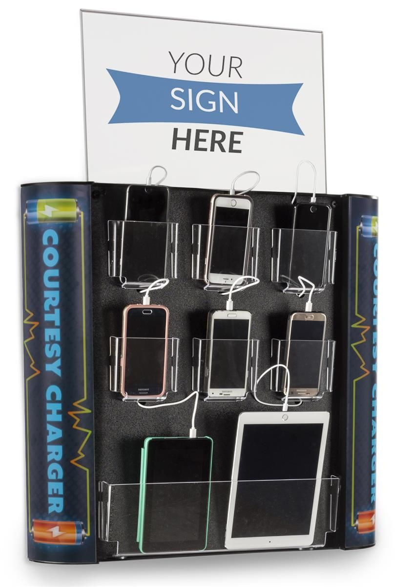 Charging Kiosk for Wall, 8 Cables, Lightning & Micro-USB