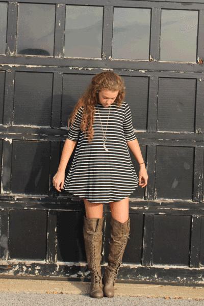 Piano Keys Dress - $25.00 #striped #tshirtdress #lemonpeelboutique