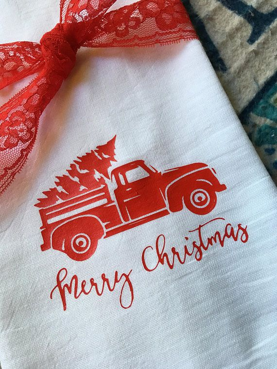 Farmhouse Decor Merry Christmas Flour Sack Dish Towel Kitchen Holiday Tea Towels Floursack Farm Vint #dishtowels