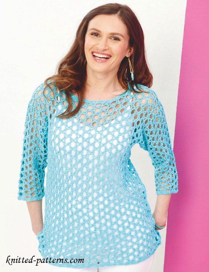 Summer Lace Pullover Free Crochet Pattern In Sizes 32 34 36 38