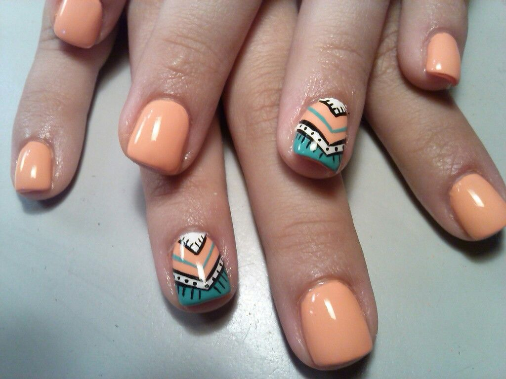 Aztec nails! Acrylic nails with free hand nail art and gel top coat ...