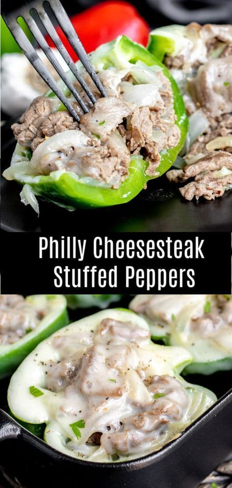 This low carb recipe for Philly Cheesesteak Stuffed Peppers is packed full of th