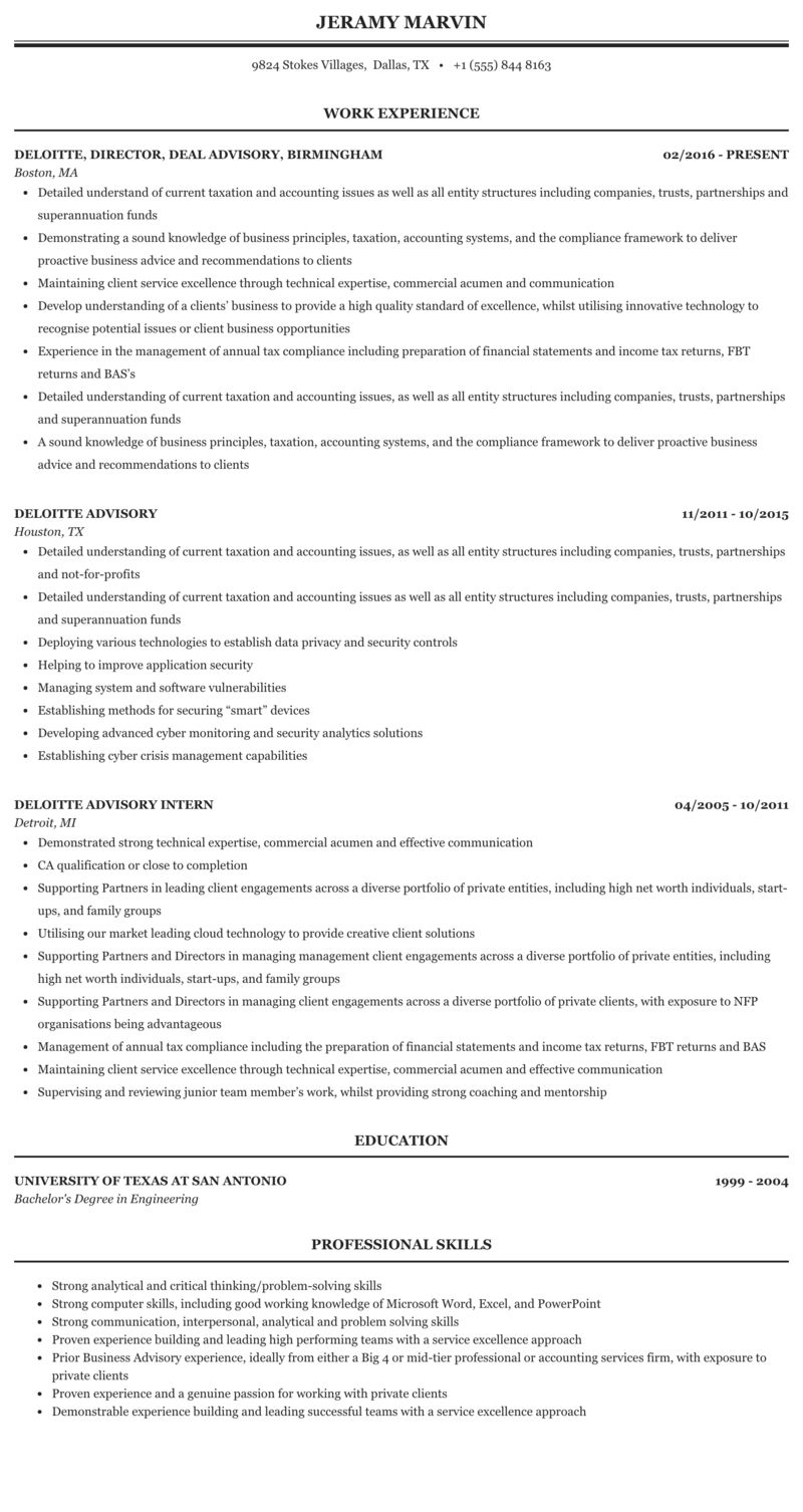 Resume For Deloitte Example In 2021 Resume Student Resume Work Experience